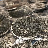 'Drive Wild' Metal Badge - Adventure Driven Design - 2 inch Saguaro Cactus Medallion back with 3M adhesive.